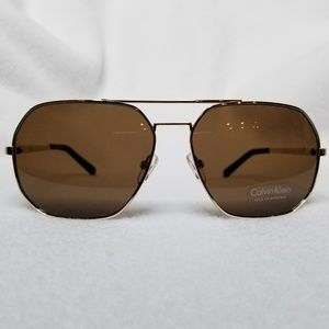 Calvin Klein Gold Aviator Sunglasses